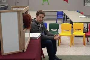 "Matt Ekstrand talkes with ""Annie,"" a puppet, during a program at KidsPlay Children's Museum, held Thursday in Torrington."