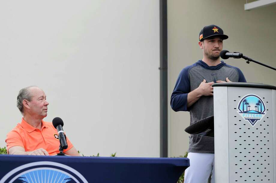 Houston Astros' Alex Bregman, right, delivers a statement as Astros owner Jim Crane listens during a news conference before the start of the first official spring training baseball practice for the team Thursday, Feb. 13, 2020, in West Palm Beach, Fla. (AP Photo/Jeff Roberson) Photo: Jeff Roberson / Copyright 2020 The Associated Press. All rights reserved.
