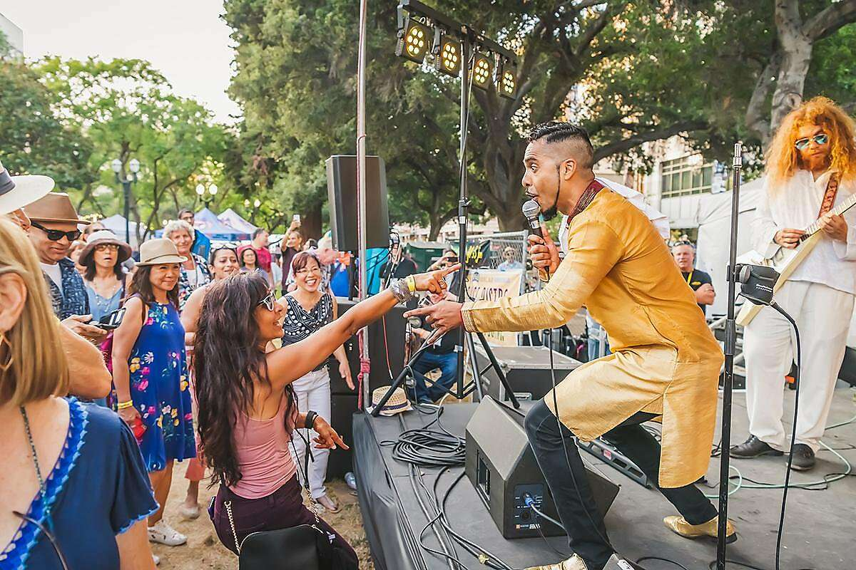 Aki Kumar, who blends American Blues and Bollywood music, performs at the San Jose Jazz Summer Fest in August 2019.