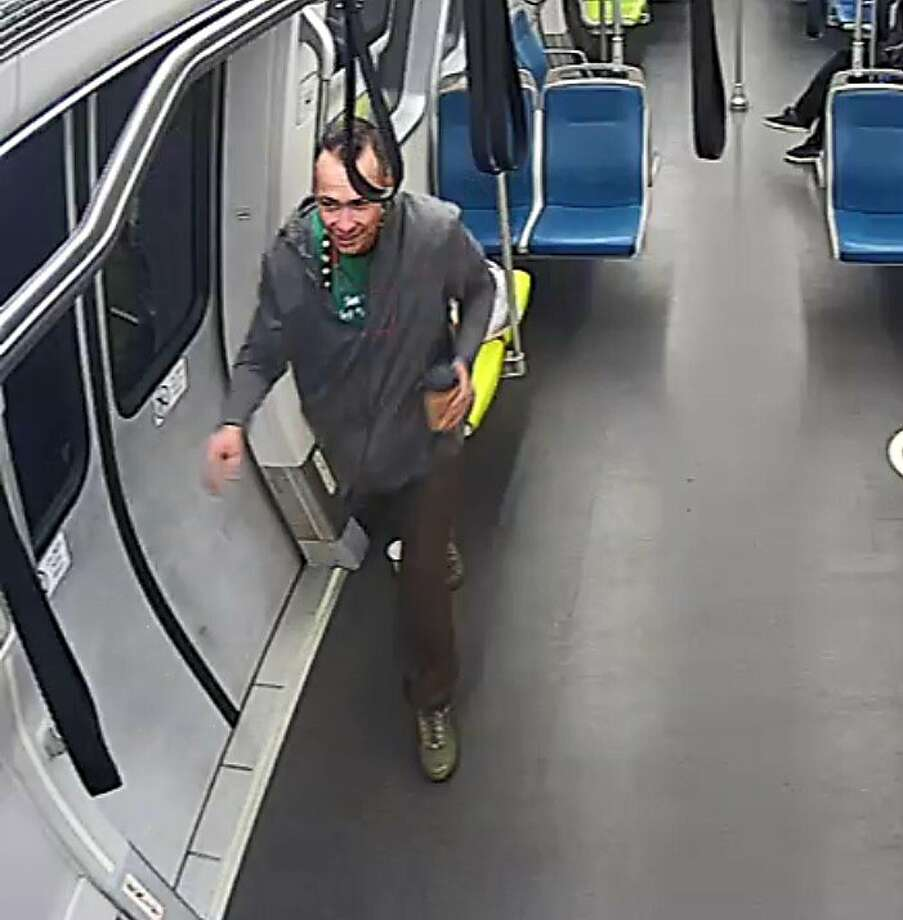 BART police released photos Thursday of the man suspected of beating a traveler with a chain in an unprovoked attack aboard a Daly City-bound train on Tuesday, February 11, 2020. Photo: Courtesy Of BART
