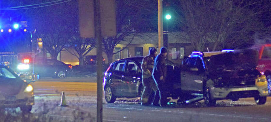 Two cars were involved in a collision on Troy Road late afternoon on Thursday. Photo: Tyler Pletsch | The Intelligencer