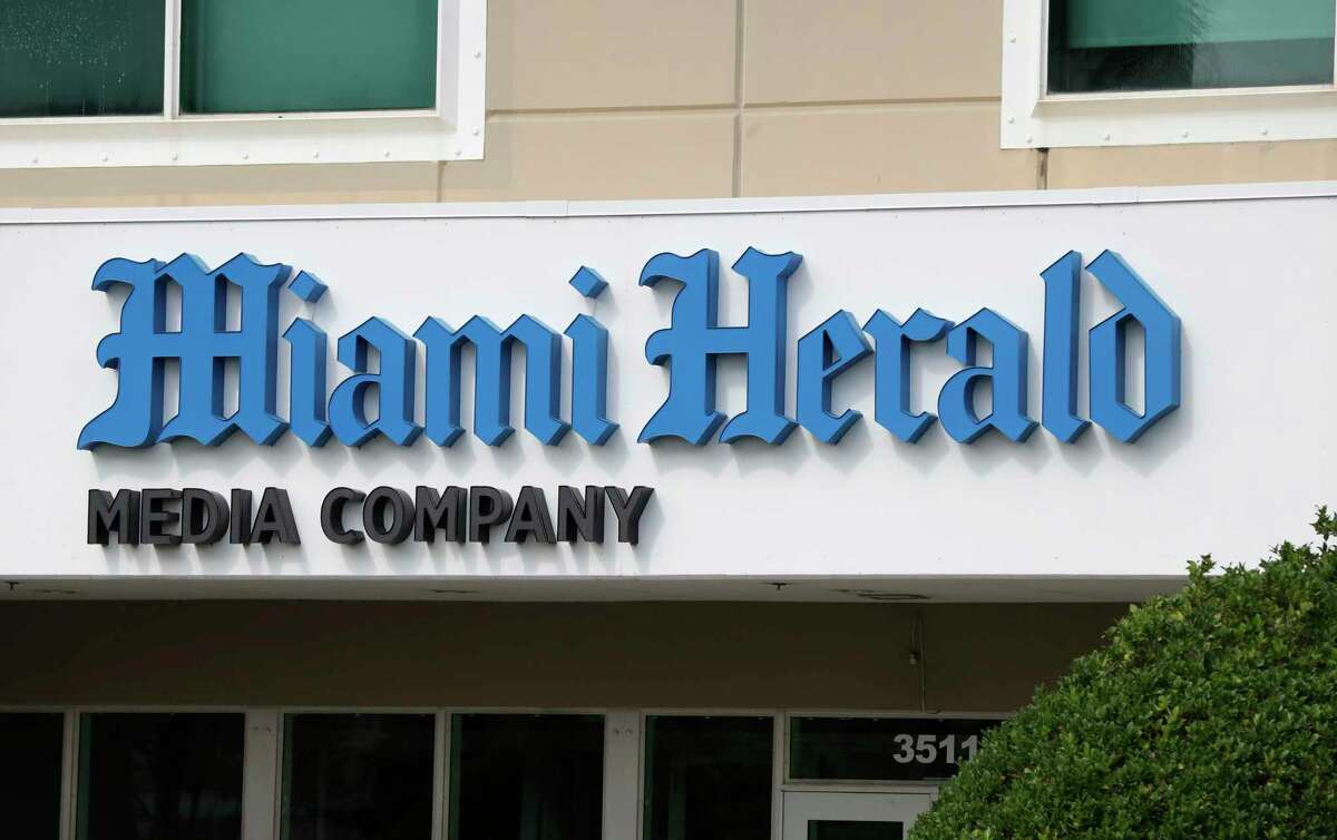 The Miami Herald newspaper office building is shown, Thursday, Feb. 13, 2020, in Doral, Fla. McClatchy, the publisher of the Miami Herald, The Kansas City Star and dozens of other newspapers nationwide, is filing for bankruptcy protection. The company has struggled to pay off debt while revenue shrinks because more readers and advertisers are going online. (AP Photo/Wilfredo Lee)