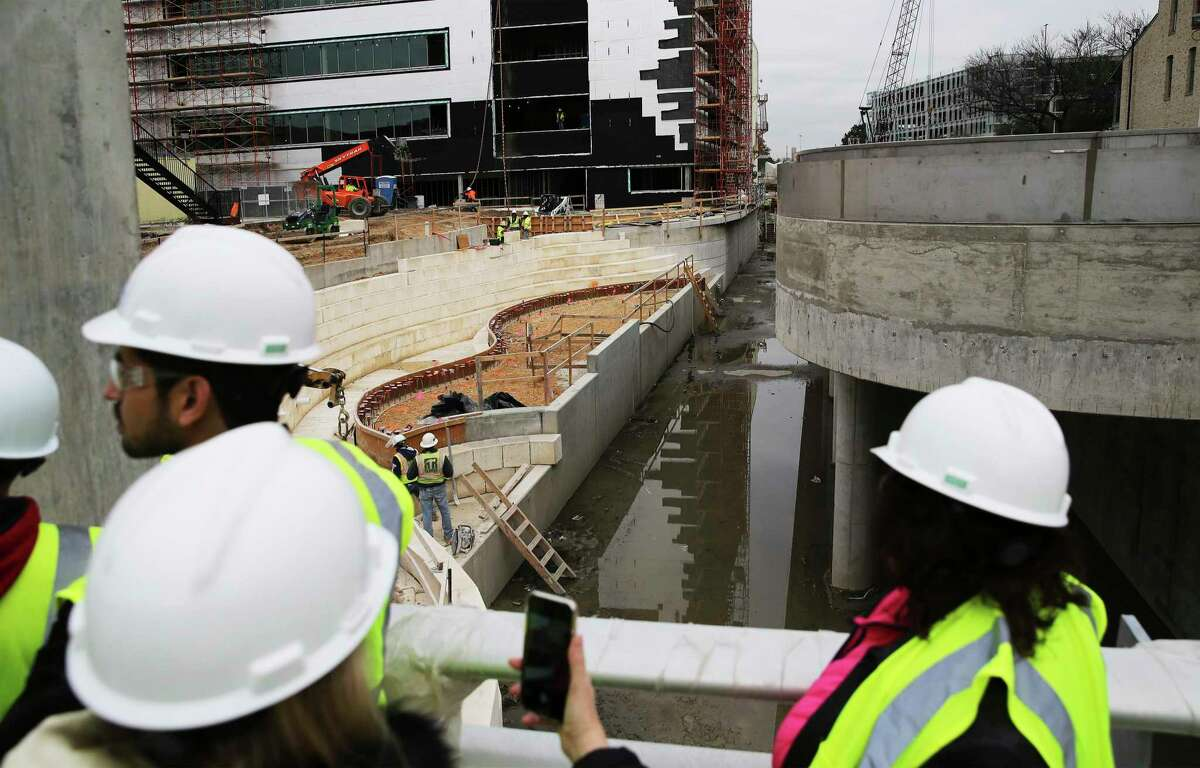 The San Pedro Creek Subcommittee takes a tour of Phase 1.2 of the San Pedro Creek Improvement Project - the San Pedro Creek Culture Park - along Commerce Street on Dec. 12, 2019. The second segment of the project now under construction is considered the most costly and most difficult part of the project since it's in the most populated part of downtown. Phase 1.2 is expected to be completed by mid-2021.