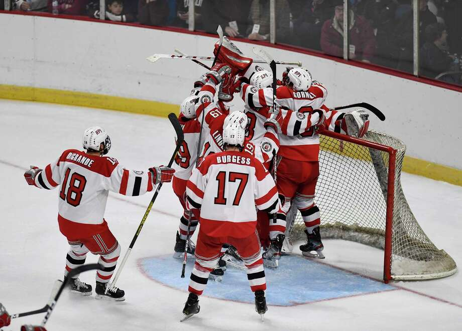 Rensselaer Polytechnic Institute celebrates after winning 2-1 shoot-out against Union during the men's Mayor's Cup college hockey game Saturday, Jan. 25, 2020, in Albany, N.Y. (Hans Pennink / Special to the Times Union) ORG XMIT: 012620_Men_HP123 Photo: Hans Pennink / Hans Pennink
