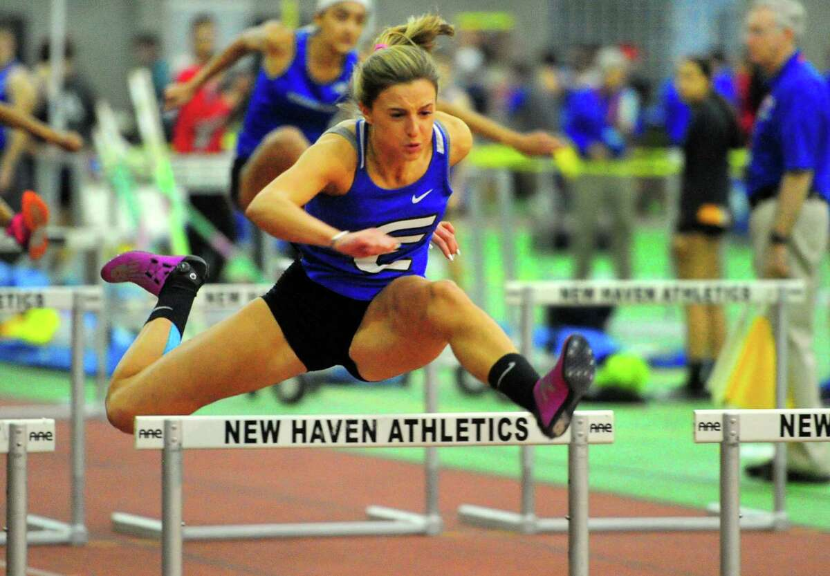 Fairfield Ludlowe's Tess Stapleton finishes first in a heat of the 55-meter hurdles during CIAC Class LL Track Championship action in New Haven, Conn., on Thursday Feb. 13, 2020.
