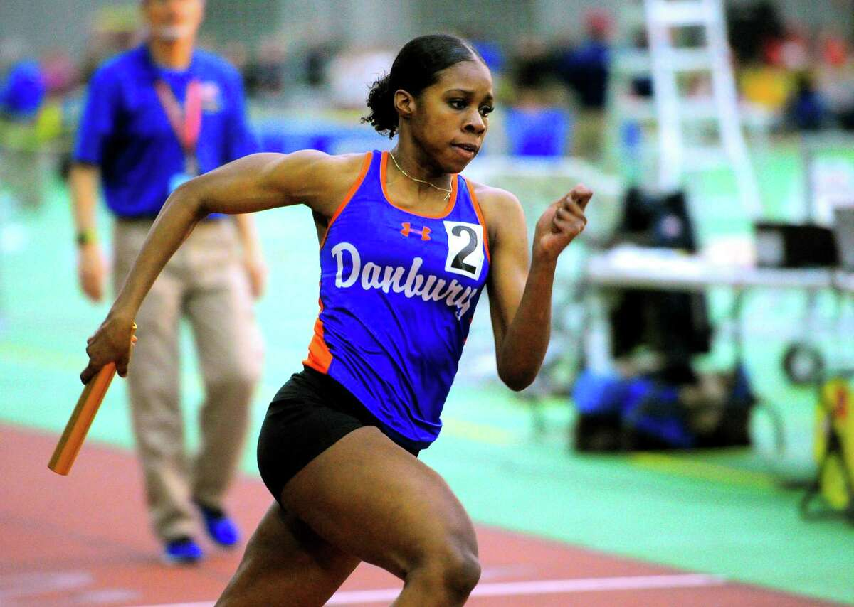 Danbury's Da'nae Sherman competes in a heat of the 4x800 meter relay during CIAC Class LL Track Championship action in New Haven, Conn., on Thursday Feb. 13, 2020.