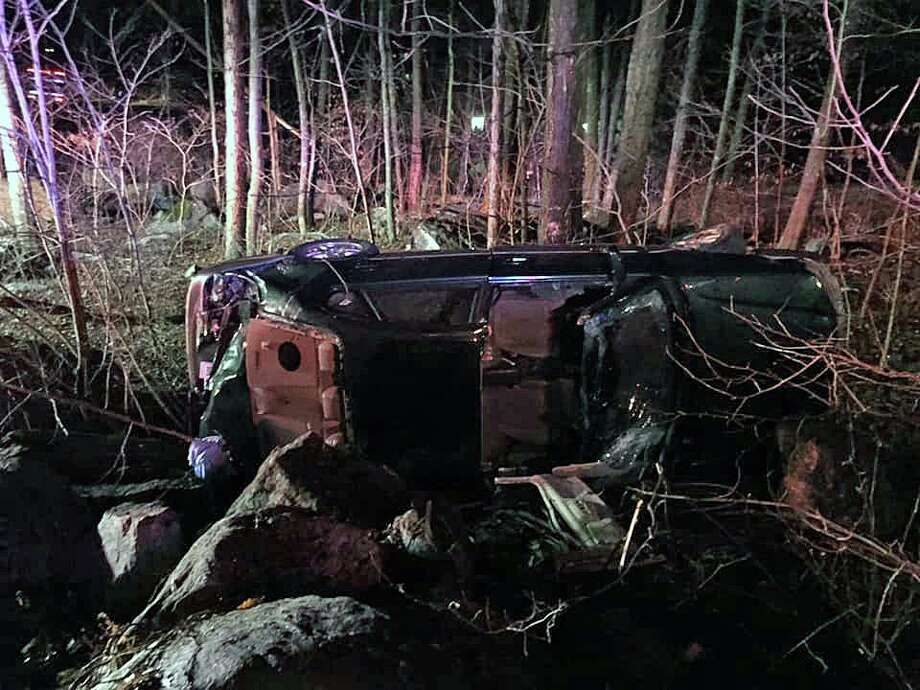 A rollover crash on Hattertown Road in Monroe, Conn., on Thursday, Feb. 13, 2020. Photo: Contributed Photo / Stepney Fire Department