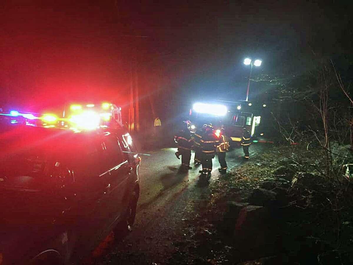 Units on scene for a rollover crash on Hattertown Road in Monroe, Conn., on Thursday, Feb. 13, 2020.