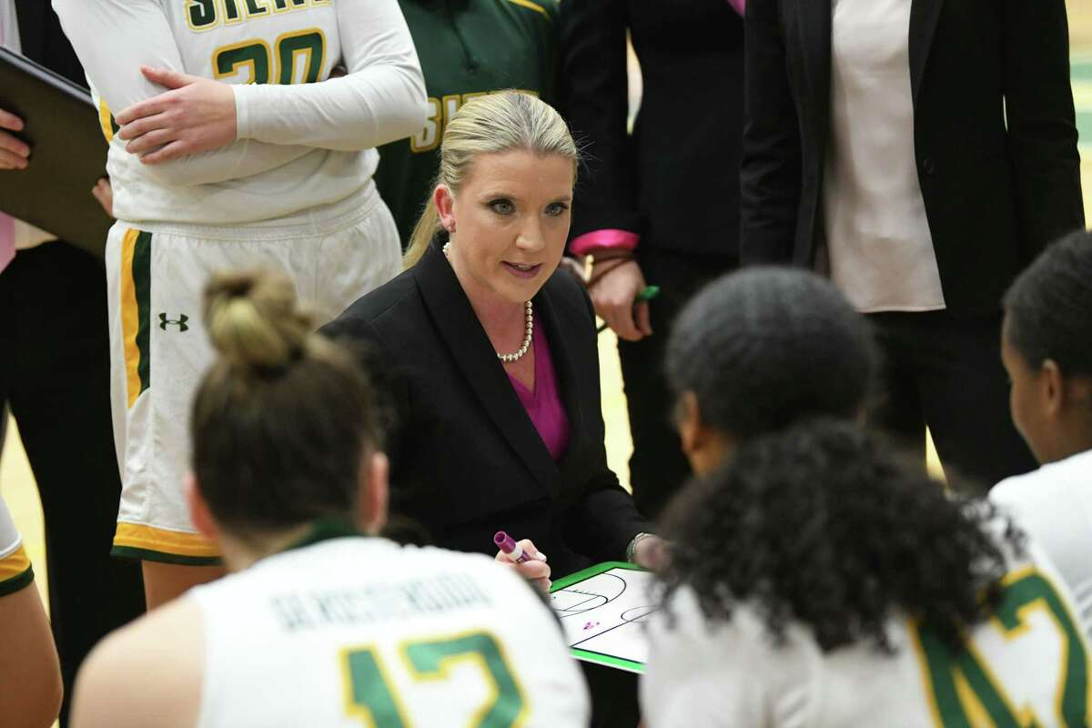 Siena head coach Ali Jaques talks to her players at a timeout during a game against Rider at Siena College on Thursday, Feb. 13, 2020 in Loudonville, N.Y. (Lori Van Buren/Times Union)