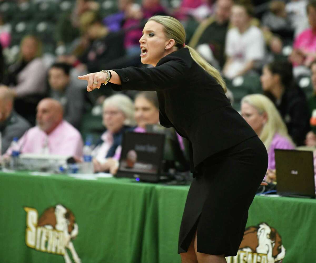 Siena head coach Ali Jaques communicates to her players during a game against Rider at Siena College on Thursday, Feb. 13, 2020 in Loudonville, N.Y. (Lori Van Buren/Times Union)