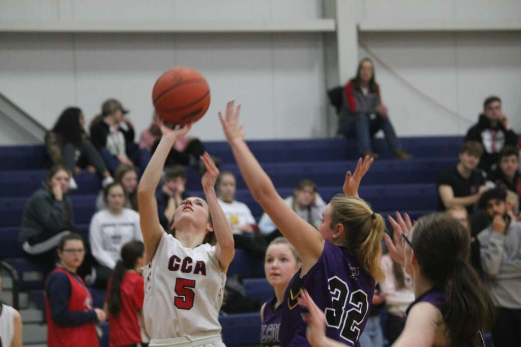 <p>Crossroads scored a 47-34 girls basketball win over Pentwater on Thursday.</p>