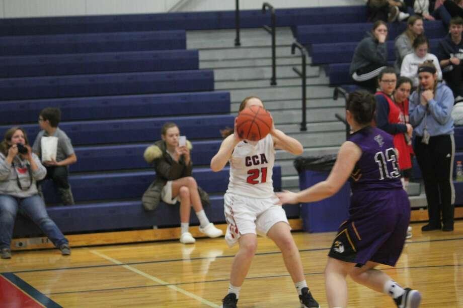 Crossroads scored a 47-34 girls basketball win over Pentwater on Thursday. Photo: John Raffel