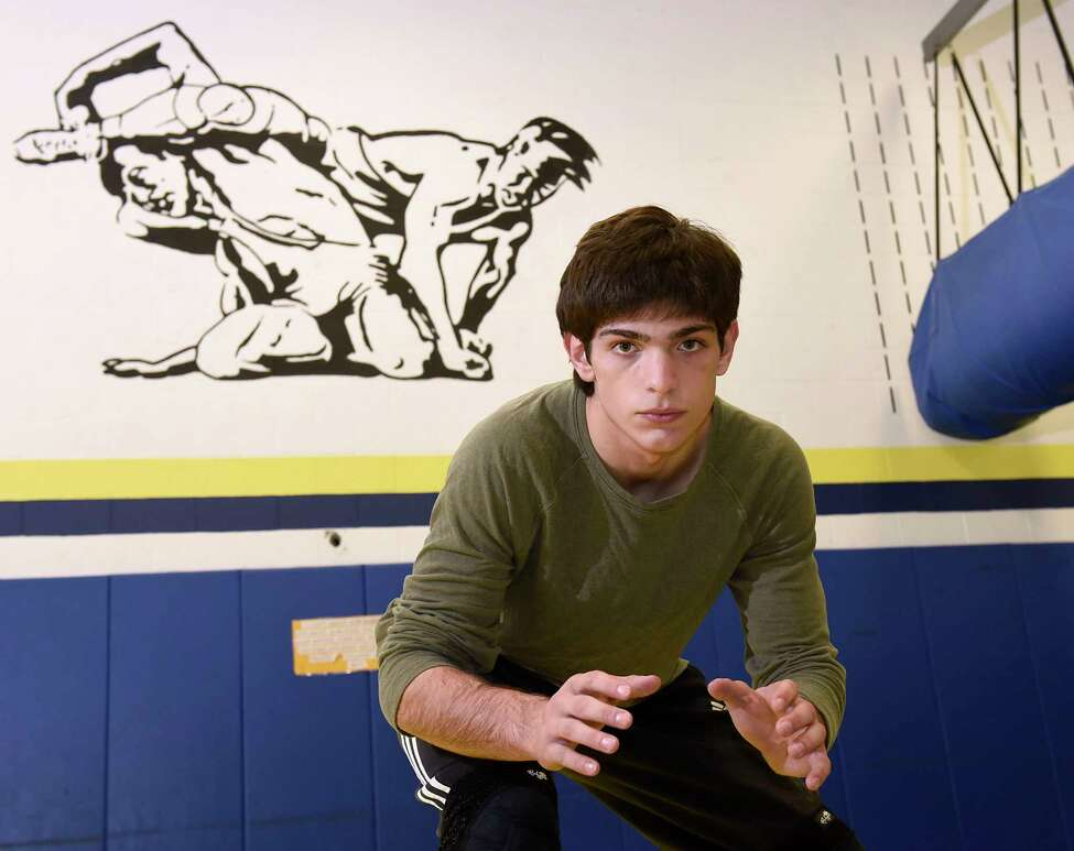 Averill Park junior wrestler Sean Malenfant is seen at practice on Wednesday, Feb. 12, 2020 in Averill Park, N.Y. Malenfant is undefeated at 36- 0 entering the division l tournament. (Lori Van Buren/Times Union)