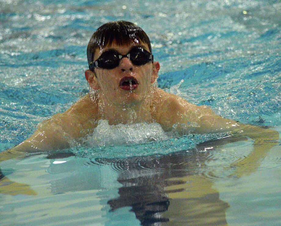 Edwardsville's Cameron Moss swims in the 100-yard breaststroke during Thursday's Southern Illinois High School Boys Championships at Chuck Fruit Aquatic Center. Photo: Scott Marion/The Intelligencer