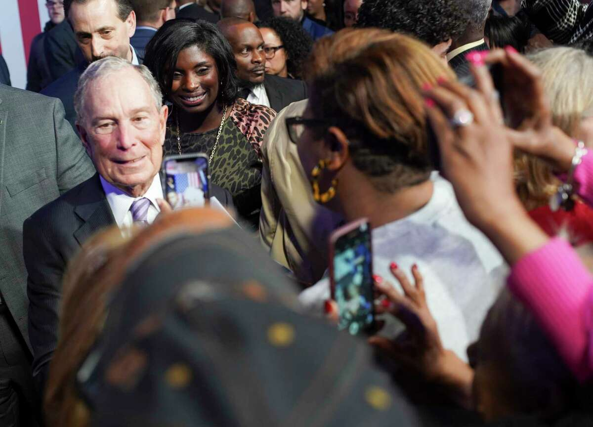 Democratic presidential primary candidate Mike Bloomberg at the Buffalo Soldier Museum in Houston on Thursday, Feb. 13, 2020.