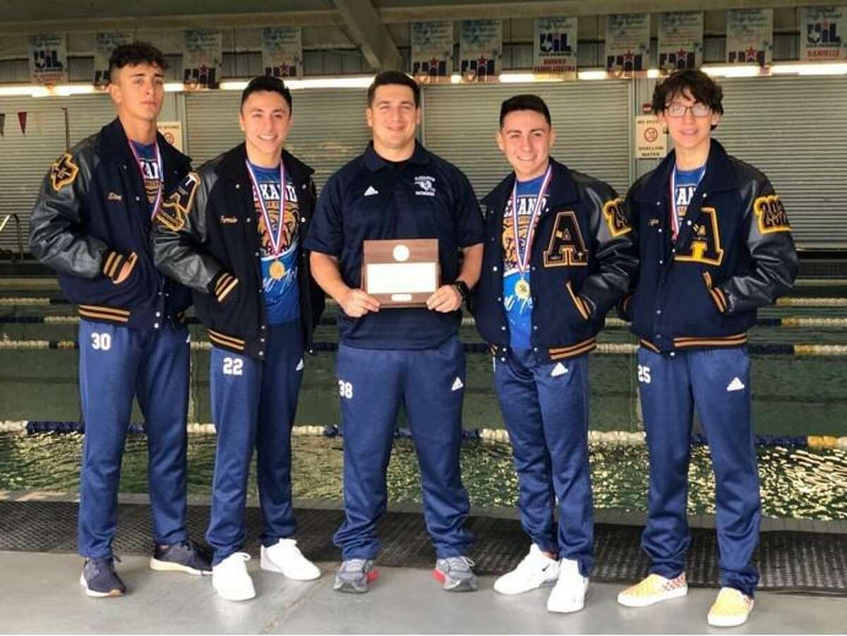 Pictured from left are Alexander's Eloy Vega, Fernie Pineda, coach Justin Meza, Joel Martinez and Chris Peña.