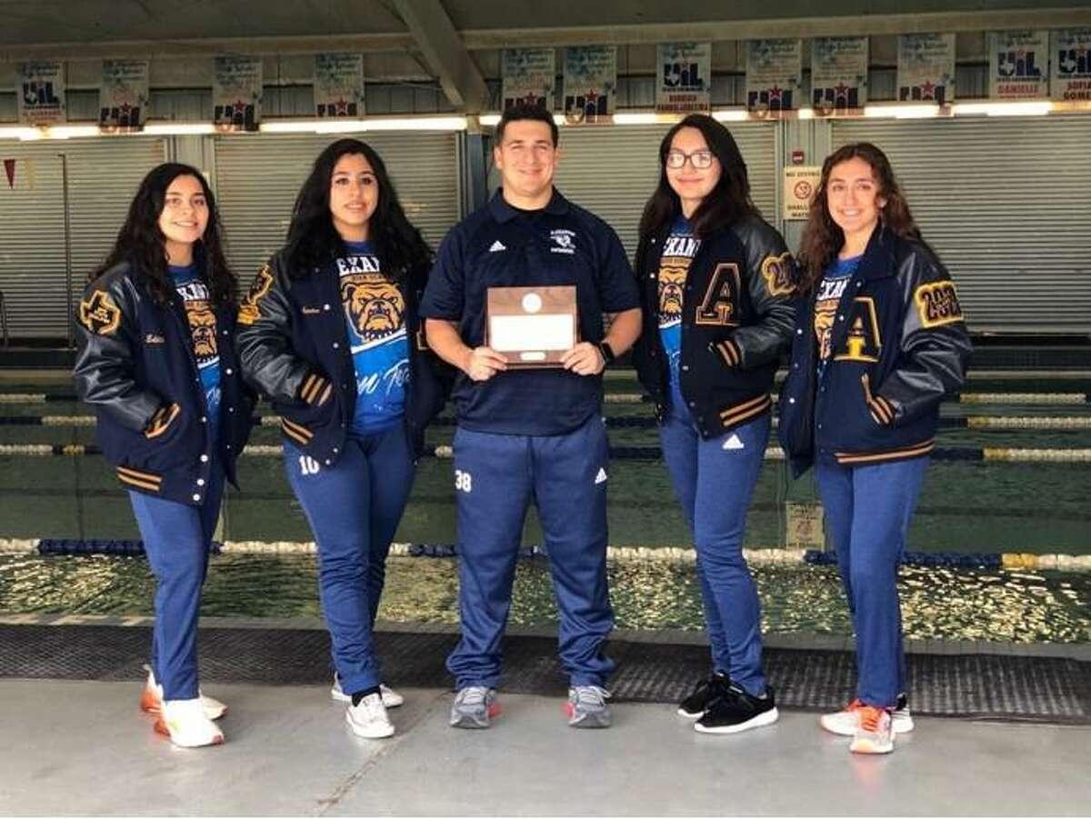 Pictured from left are Alexander's Edith Martinez, Amanda Nunez, coach Justin Meza, Pau Cervantes and Nana Alvarado.
