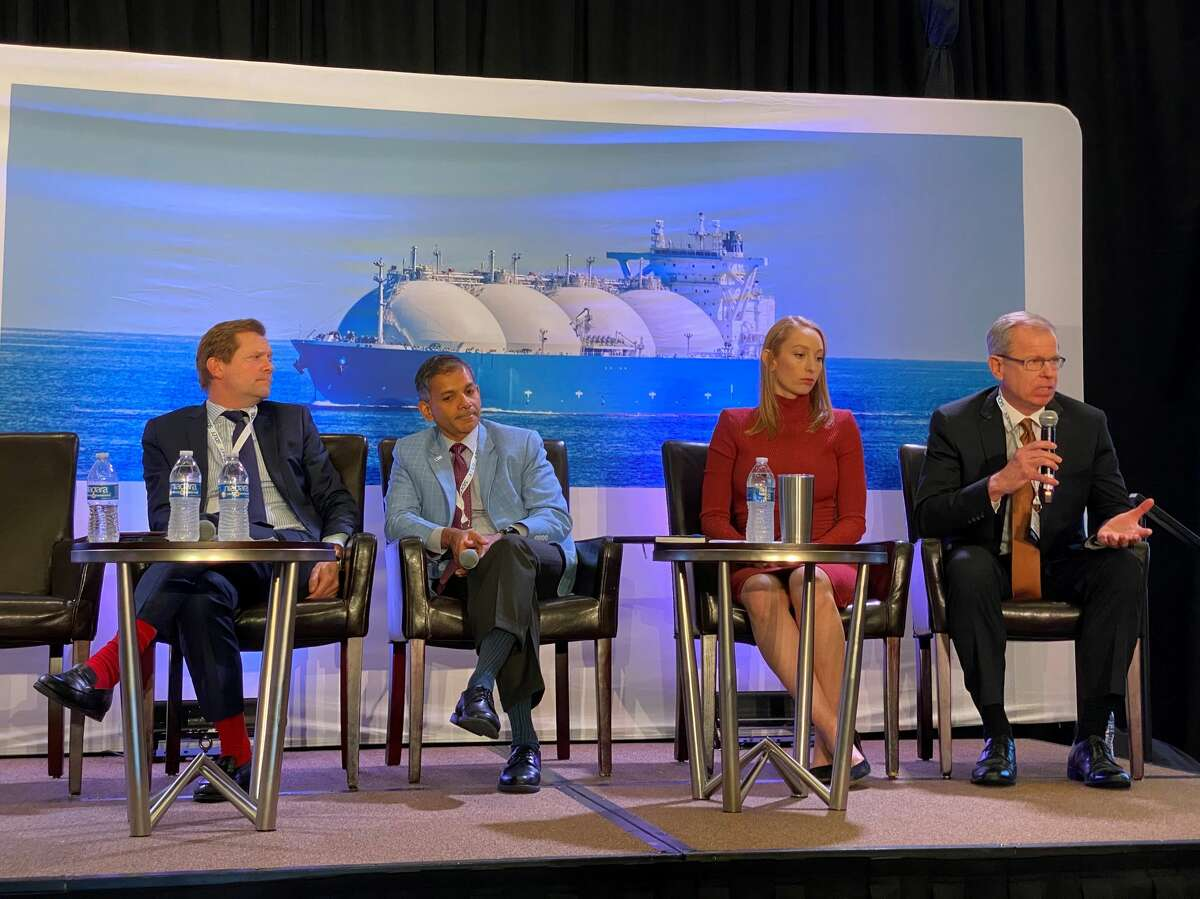 U.S. liquefied natural gas developers are pushing forward with plans to build new export terminals along the Gulf Coast despite record low prices in Asia. From Left: Shell Lake Charles LNG Vice President Frederic Phipps, Texas LNG CEO Vivek Chandra, Tellurian Head of Research Renee Pirrong and LNG Limited Commercial Director Vince Morrissette.