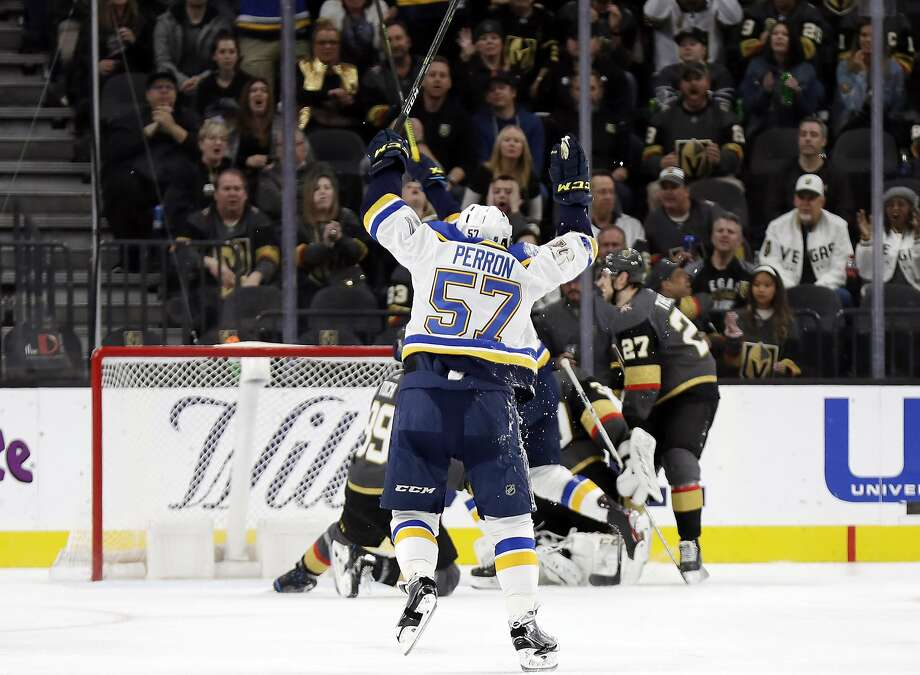 Blues forward David Perron celebrates after a second-period goal against the Golden Knights in Las Vegas. Photo: Isaac Brekken / Associated Press