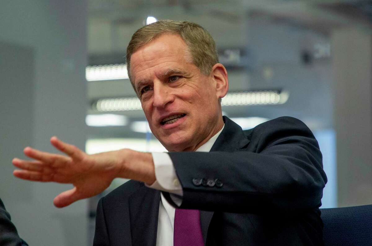 Federal Reserve Bank of Dallas president and CEO Robert Kaplan talks to the Houston Chronicle editorial board Tuesday, Feb. 11, 2020, in Houston.