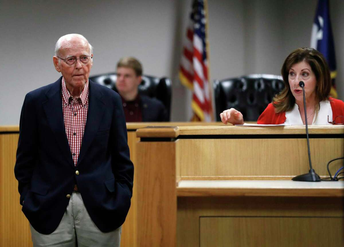 Wally Wilkerson, the Montgomery County chairman, who has been in the role for 55 years and is credited for building up the party, listens to a speaker during a Montgomery County Republican Party meeting in Conroe, Tuesday, Feb. 4, 2020.