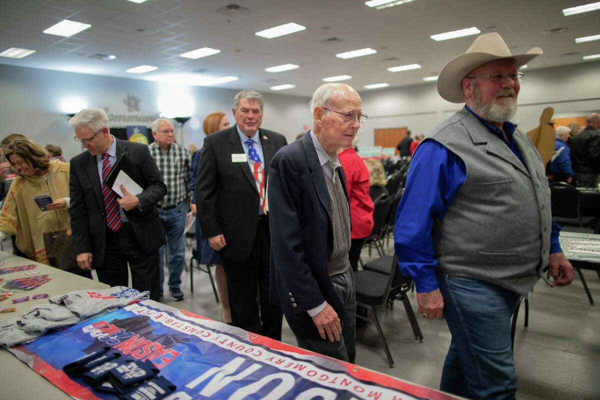 Wally Wilkerson, center, attends the State and County Candidate Forum on Thursday, Feb. 6, 2020, in Montgomery. Wilkerson has served Montgomery County for 55 years as chairman of the Republican Party and has announced he's not seeking re-election.