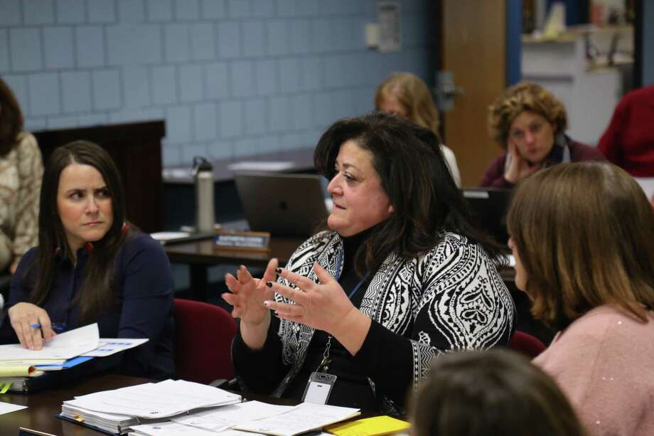 Assistant Superintendent for Student Services Andrea Leonardi talks to Board of Finance in February. Photo: Jarret Liotta / Hearst Connecticut Media / Wilton Bulletin