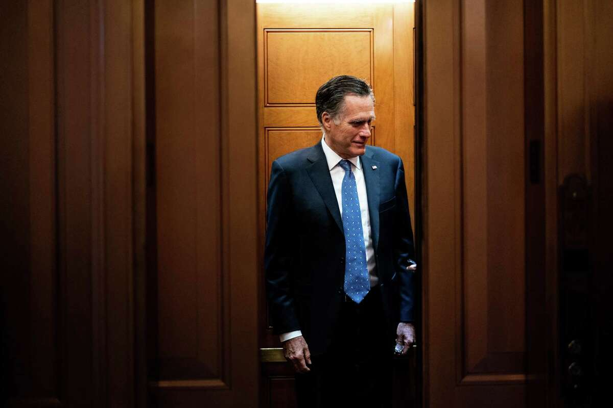 Sen. Mitt Romney (R-Utah) leaves the Capitol after a vote in Washington on Wednesday, Feb 12, 2020.