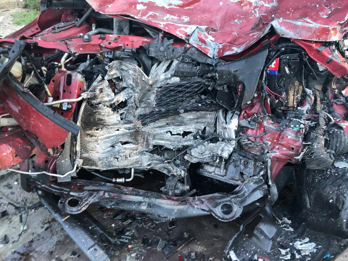 Damage from a violent, deadly head-on crash near Humble on Friday, Feb. 14, 2020, is seen up close in photos shared by Harris County Sheriff Ed Gonzalez.