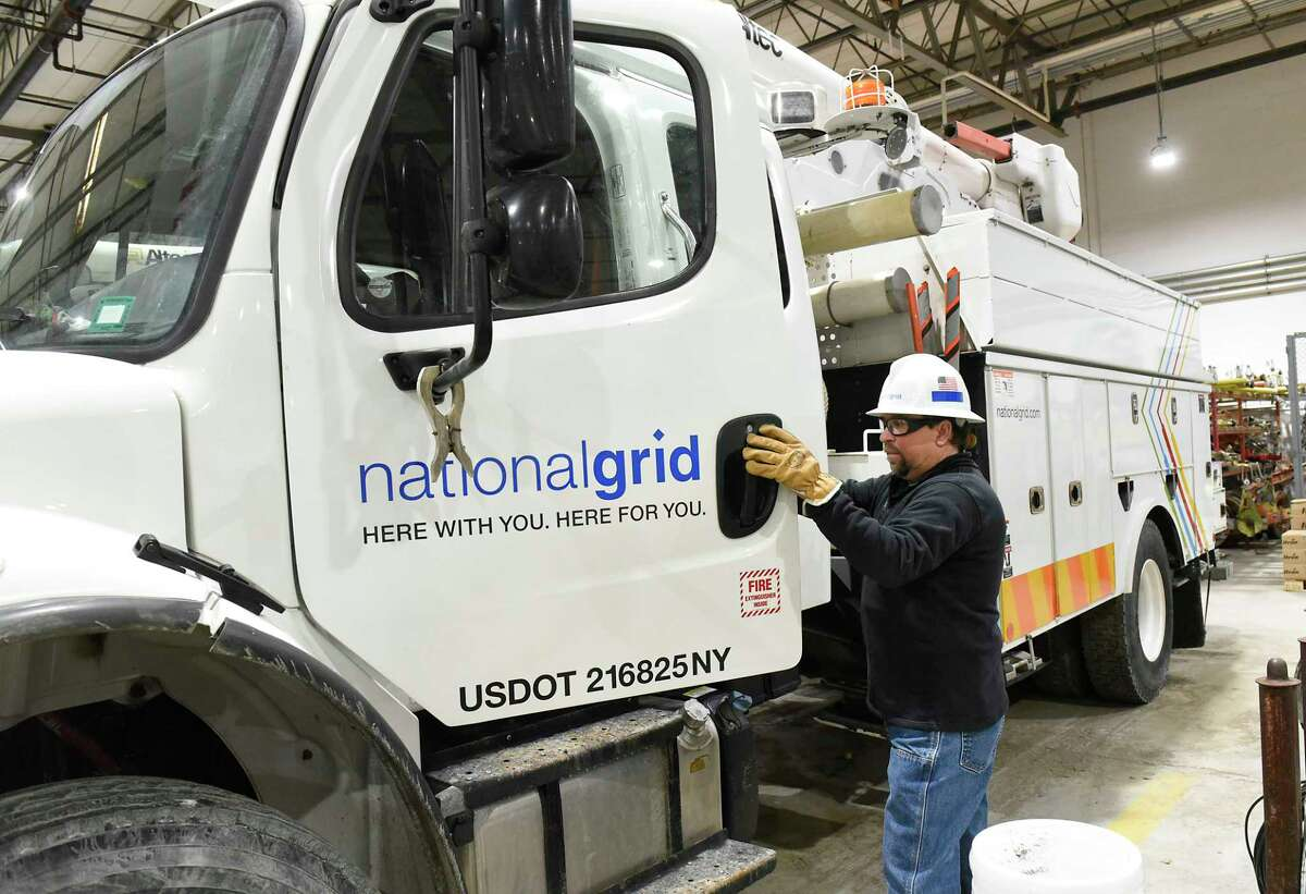 Ray Burlett, chief line mechanic hotstick for National Grid, gets in a truck in the truck barn at National Grid on Friday, Feb. 14, 2020 in Queensbury, N.Y. (Lori Van Buren/Times Union)