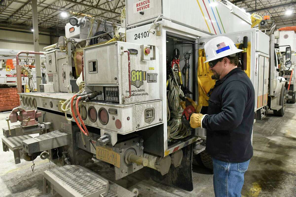 Ray Burlett, chief line mechanic hotstick for National Grid, stocks his truck in the truck barn at National Grid on Friday, Feb. 14, 2020 in Queensbury, N.Y. (Lori Van Buren/Times Union)