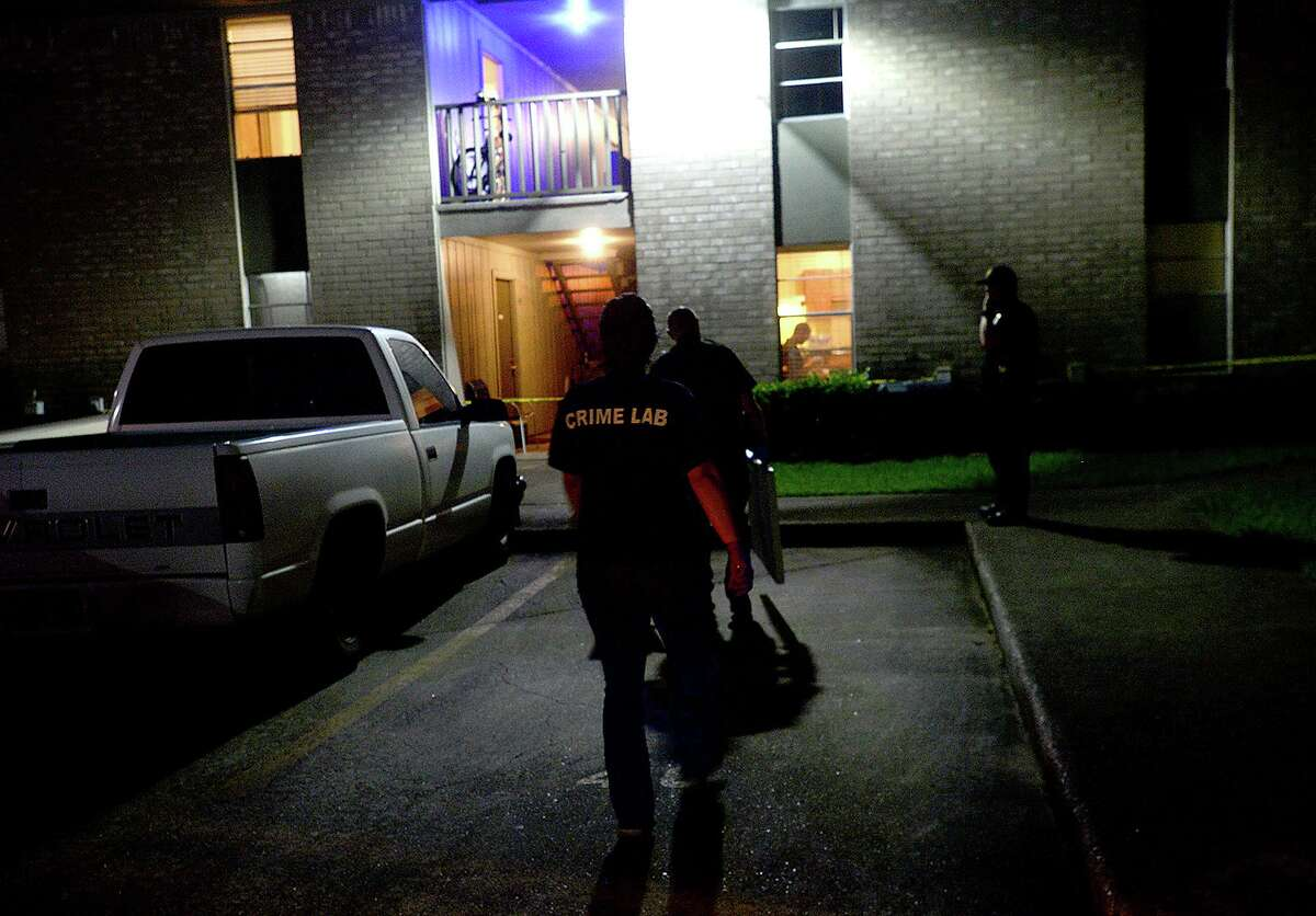 Nederland police and members of the crime scene unit continue to investigate and gather evidence from an apartment in the Briarcliff Apartment complex in Nederland Wednesday night. According to Nederland Police Officer Gary Porter, police received a call at 6:25 pm abut a disturbance at the complex. Witnesses later reported that 2 males possibly Black or Hispanic were in the apartment with the victim when the fight broke out. One left the apartment and went downstairs to a maroon, possibly Dodge pickup, and got a gun from a white make in the vehicle. He returned upstairs, after which witnesses heard a shot and saw the two men run from the apartment to the pickup, which sped off. Police are continuing to search for the vehicle and suspects. Photo taken Wednesday, May 29, 2019 Kim Brent/The Enterprise