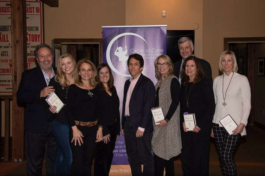 Journalist/author Mitch Albom joins Circle of Care board and staff members. From left are Jeff Salguero ( WIlton), Heather Stabinsky (Monroe), Elizabeth Vega ( Westport), Tammi Small (Norwalk), Albom, Circle of Care founders: Liz Salguero and Dawn Ladenheim (Wilton), Bob Hinckley (Danbury) and Susan Kobylinski (Westport). Photo: Contributed Photo / Circle Of Care / Wilton Bulletin