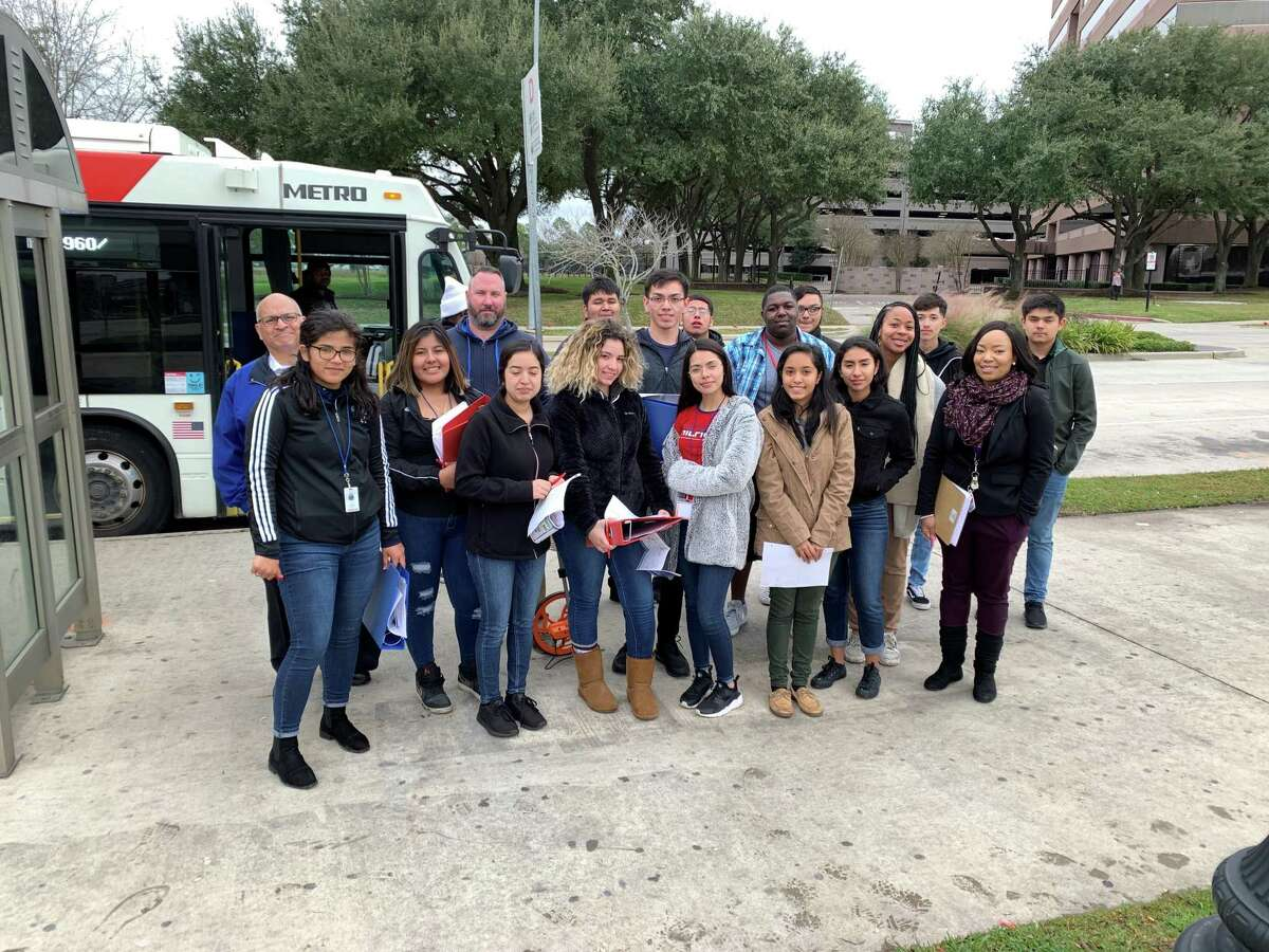 A group of Aldine High School students are among the teams in Aldine ISD participating in the Metro challenge to redesign the Greenspoint Transit Center.