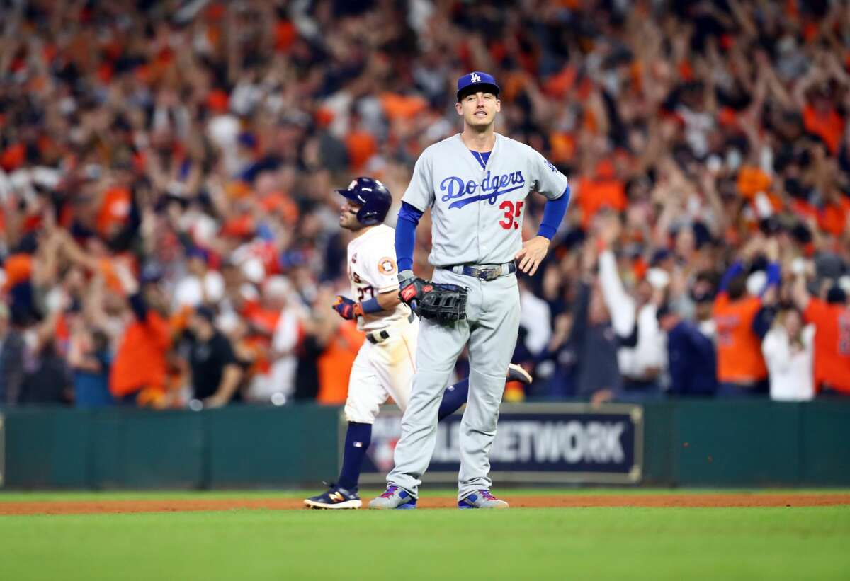 PHOTOS: See which Astros players heard the most trash can bangs during the 2017 season The Dodgers' Cody Bellinger reacts as Jose Altuve rounds the bases after hitting a three-run homer in the fifth inning of Game 5 of the 2017 World Series on Oct. 29 at Minute Maid Park. Browse through the photos to see how many trash can bangs each Astros player heard during the 2017 season ...