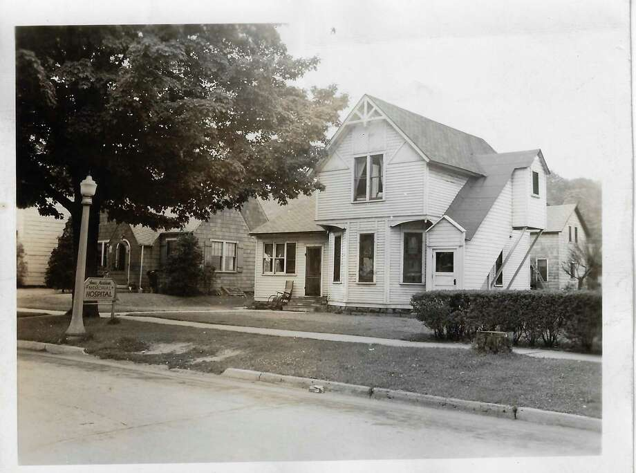 Before Paul Oliver Memorial Hospital, there was Anna Markham Hospital in this house in the 600 block of Forest Avenue, in Frankfort. Bedrooms were converted into maternity rooms and the dining room to surgery/delivery area. Ena Kraft Jackson was the nurse in charge. It operated from 1938 to 1951, when the patients and equipment were moved to the new hospital on the hill. (Courtesy Photo/Benzie Area Historical Society)