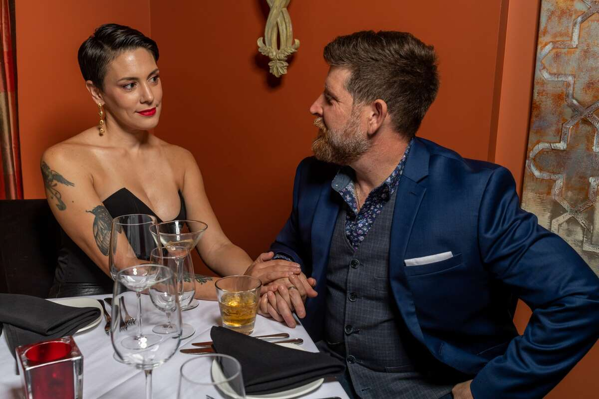Shanna and Jeremy Hawa who are local film makers photographed with three couples modeling date-night fashions for Valentine's Day so romance rocks at The Grill. Photograph made on Tuesday, February 4, 2020. Fran Ruchalski/The Enterprise