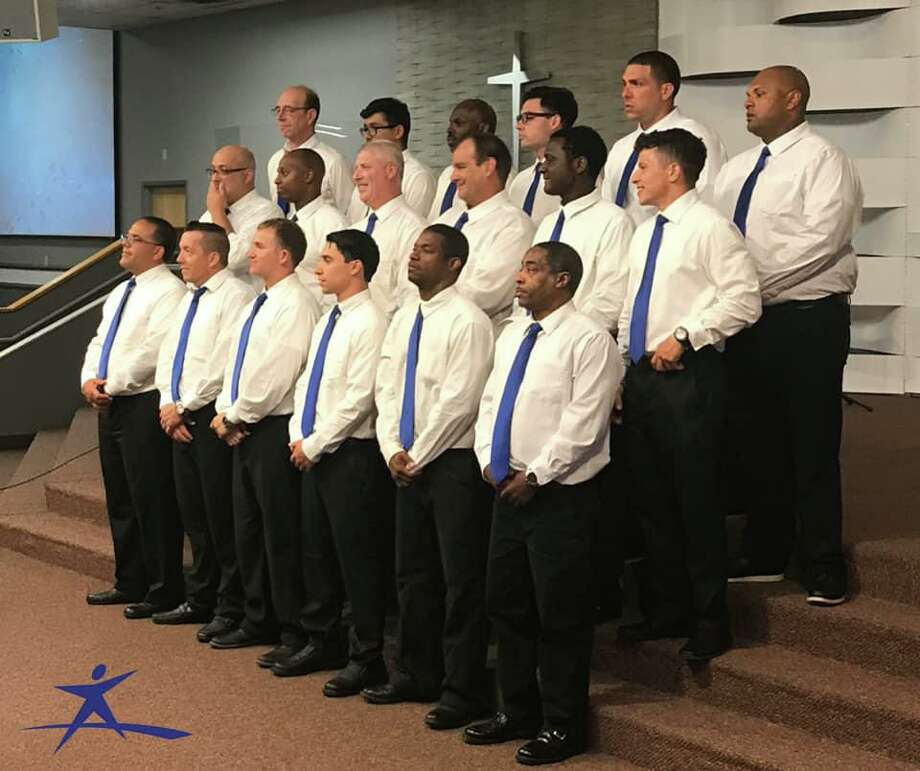 The Connecticut Adult & Teen Challenge Men's Choir, a group of men who share in song and testimony, will perform at First Church of Christ Saybrook on Sunday during the 10:30 a.m. service. Photo: Contributed Photo