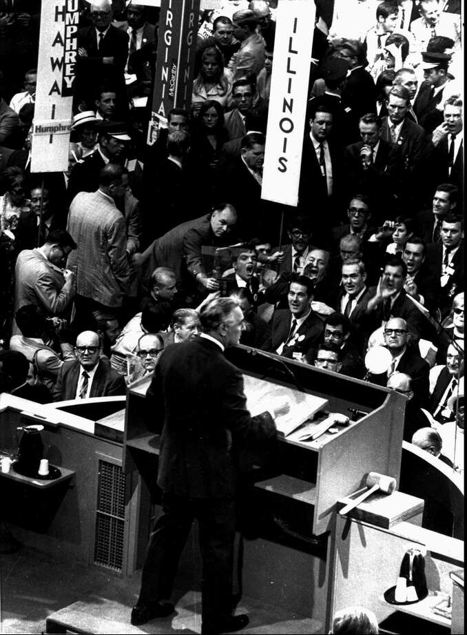 This is a 1968 file photo of U.S. Sen. Abraham Ribicoff, D-Conn., as he is yelled at by Chicago Mayor Richard Daley during the Democratic National Convention in Chicago. Photo: Associated Press / AP