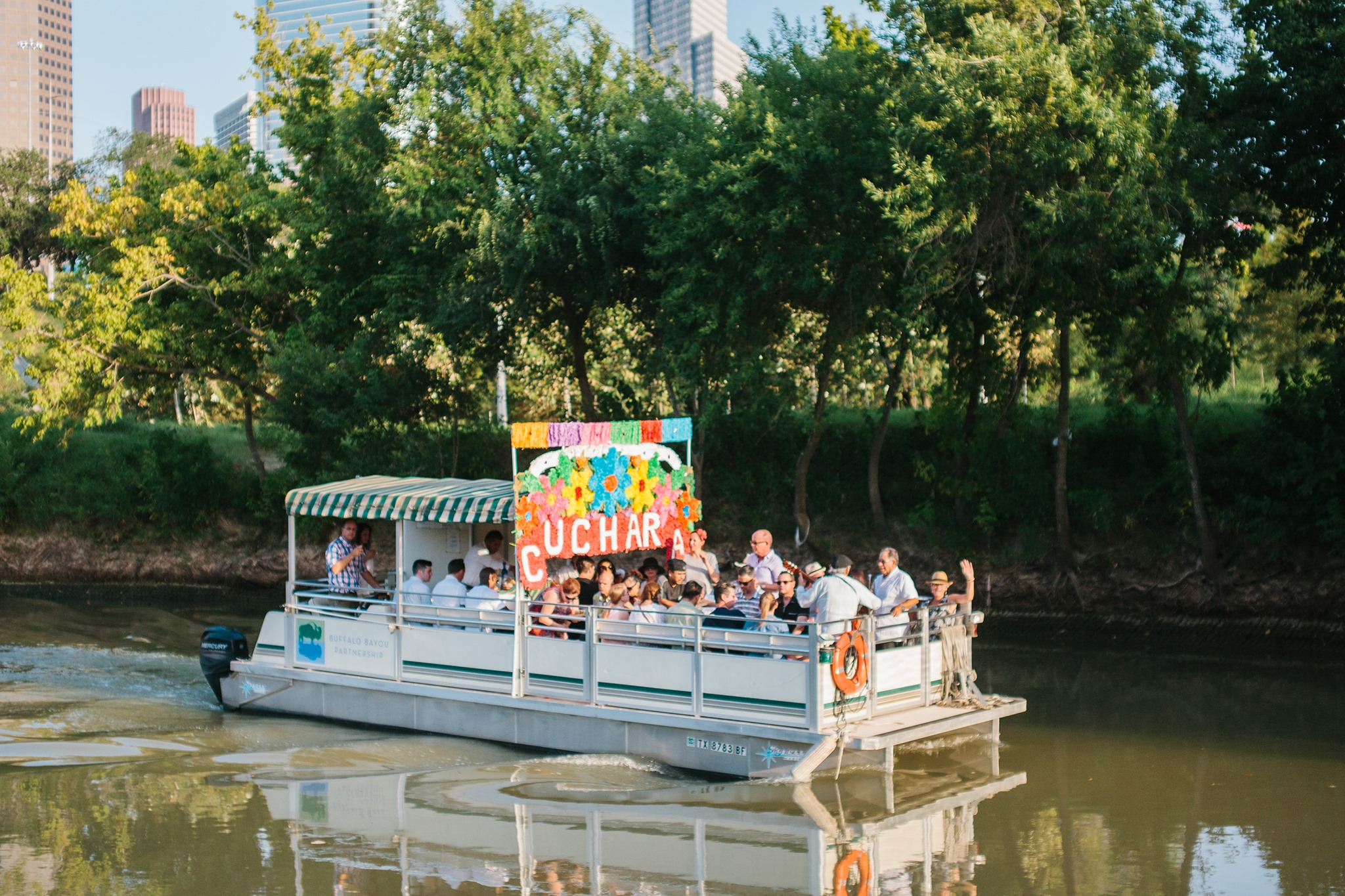 Float down Buffalo Bayou drinking endless margaritas on Cuchara's Xochimilco-inspired boat tour