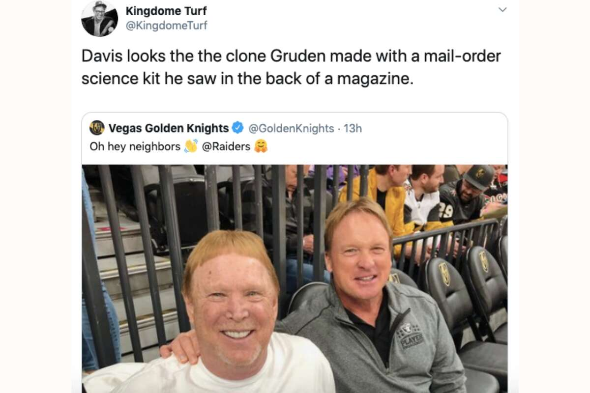 The internet was particularly cruel to Jon Gruden and Mark Davis after they attended a Vegas Golden Knights game.