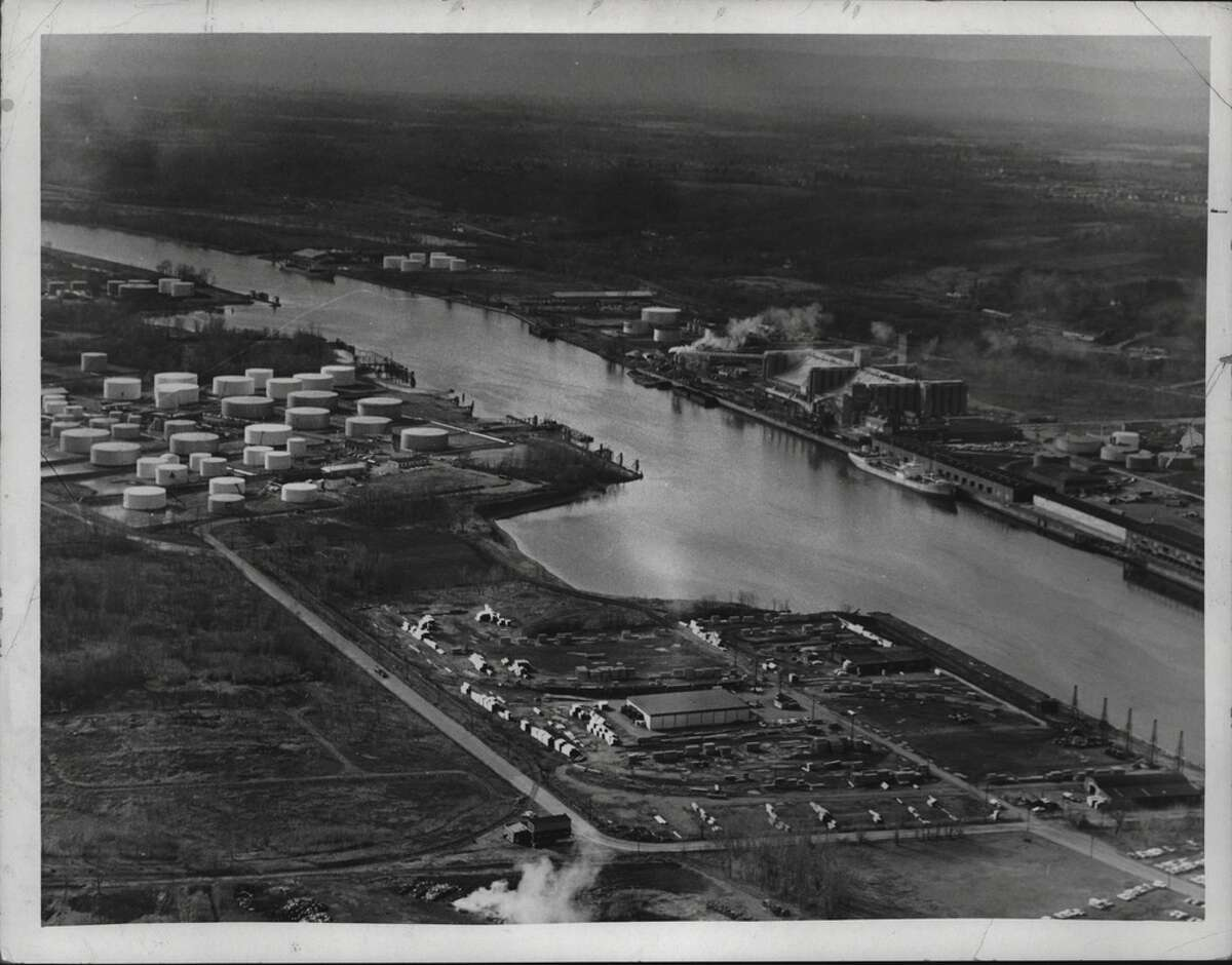 An aerial view of the Port of Albany looking southwest from the Rensselaer side of Hudson River in 1969.