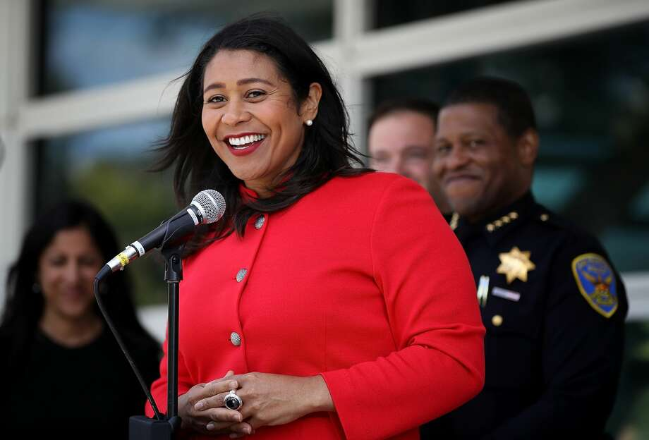 San Francisco mayor London Breed speaks to reporters after meeting with first responders during an emergency preparedness meeting on July 12, 2018 in San Francisco, California. A day after she was sworn in as the first black woman to be elected mayor of San Francisco, London Breed met with first responders to discuss emergency preparedness in San Francisco. Photo: Justin Sullivan/Getty Images