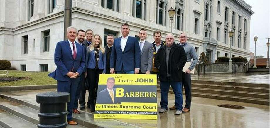 On Wednesday, several Republicans gathered at the Madison County Courthouse to endorse the candidacy of John Barberis for the Illinois Supreme Court's Fifth Judicial District. Pictured with him are, from left, county board member Tom McRae, Madison County Treasurer Chris Slusser, county board members Phil Chapman, Chrissy Dutton, Jaime Goggin, David Michael, Eric Foster and Mick Madison and Wood River Township Trustee Patrick McRae. Also endorsing Barberis are county board members Clint Jones and Erica Harriss and Wood River Township Supervisor Mike Babcock.