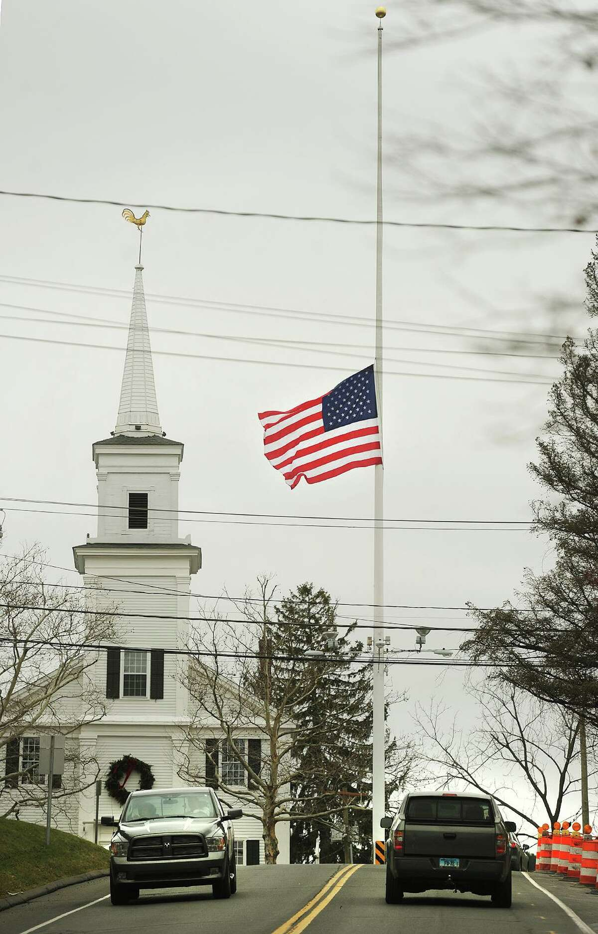 The American flag on the Newtown flagpole at the intersection of Route 25 and Church Hill Road flies at half staff on the second anniversary of the Sandy Hook Elementary School killings in Newtown, Conn.on Sunday, December 14, 2014. During the same episode, a Virginia couple described experiencing similar online harassment as Pozner. Matt and Maatje Benassi were subjects of online harassment, alleging that Maatje Benassi was patient zero in the beginning of the COVID-19 pandemic. They turned to Pozner's HONR Network and with his help, were able to get a COVID-19 conspiracy theorist banned from YouTube. Pozner established the HONR Network in 2014, as a nonprofit that protects