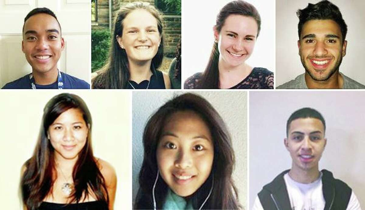 The 2019-20 Wesleyan University Fulbright award winners include, from top left, Jordan Legaspi, Emma Porrazzo, Katelin Murray, Amad Amedy, Stephanie Loui, Hai Lun Tan and Ulysses Estrada. Not pictured are Ellie Martin, Emma Distler and Rachel Yanover. The Department of State's Bureau of Educational and Cultural Affairs recently included the school on the list of U.S. colleges and universities that produced the most 2019-20 Fulbright U.S. students.