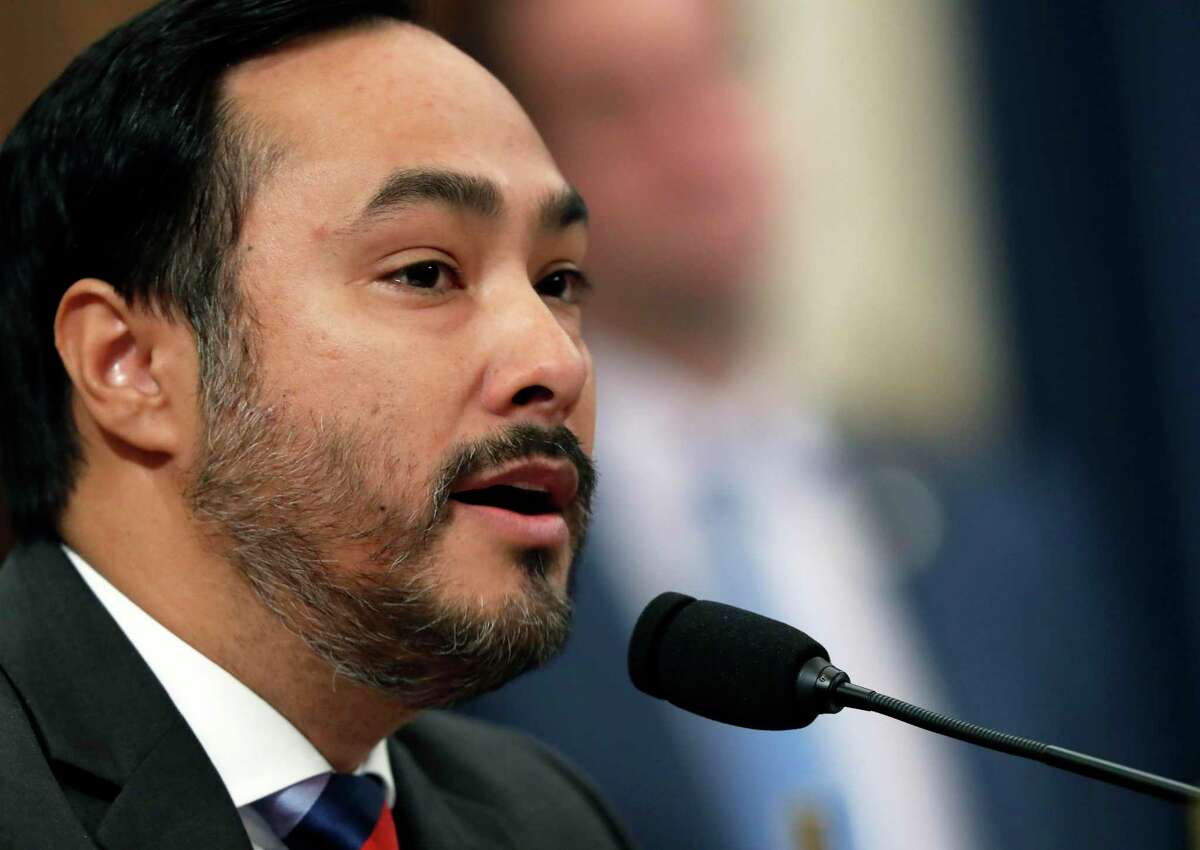 Rep. Joaquin Castro, D-Texas, questions former White House national security aide Fiona Hill, and David Holmes, a U.S. diplomat in Ukraine, as they testify before the House Intelligence Committee on Capitol Hill in Washington, Thursday, Nov. 21, 2019, during a public impeachment hearing of President Donald Trump's efforts to tie U.S. aid for Ukraine to investigations of his political opponents. (AP Photo/Andrew Harnik)