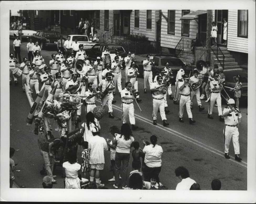 Drum Maj. Dick Hannon leads the Fort Crailo American Legion band along Broadway in Rensselaer on Memorial Day as they play the march Bravura in this undated photo.