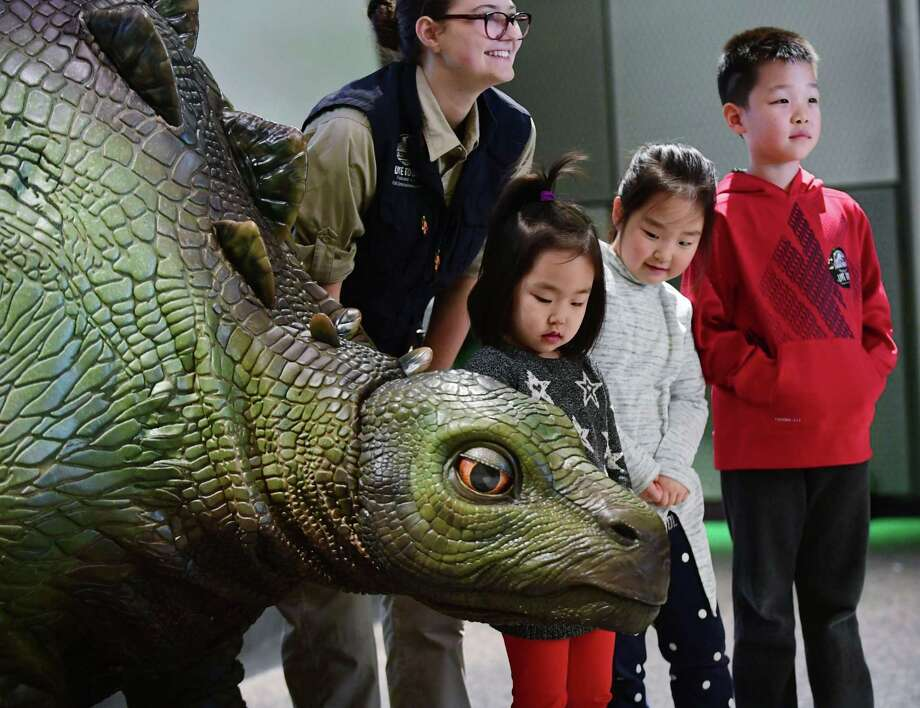 Steph Warrington of Feld Entertainment poses with children including Leah Choi, 4, Hannah Choi, 6, and Daniel Choi, 8, of Trumbull as Feld presents Jurassic World Live Tour event featuring Olive the animatronic baby Stegosaurus Friday, February 14, 2020, at Stepping Stones Museum for Children in Norwalk, Conn. Photo: Erik Trautmann / Hearst Connecticut Media / Norwalk Hour
