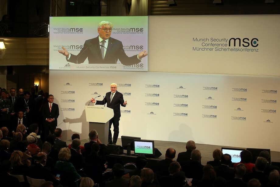German President Frank-Walter Steinmeier delivers the opening address at the Munich Security Conference. The meeting brings together political, security and business leaders. Photo: Johannes Simon / Getty Images